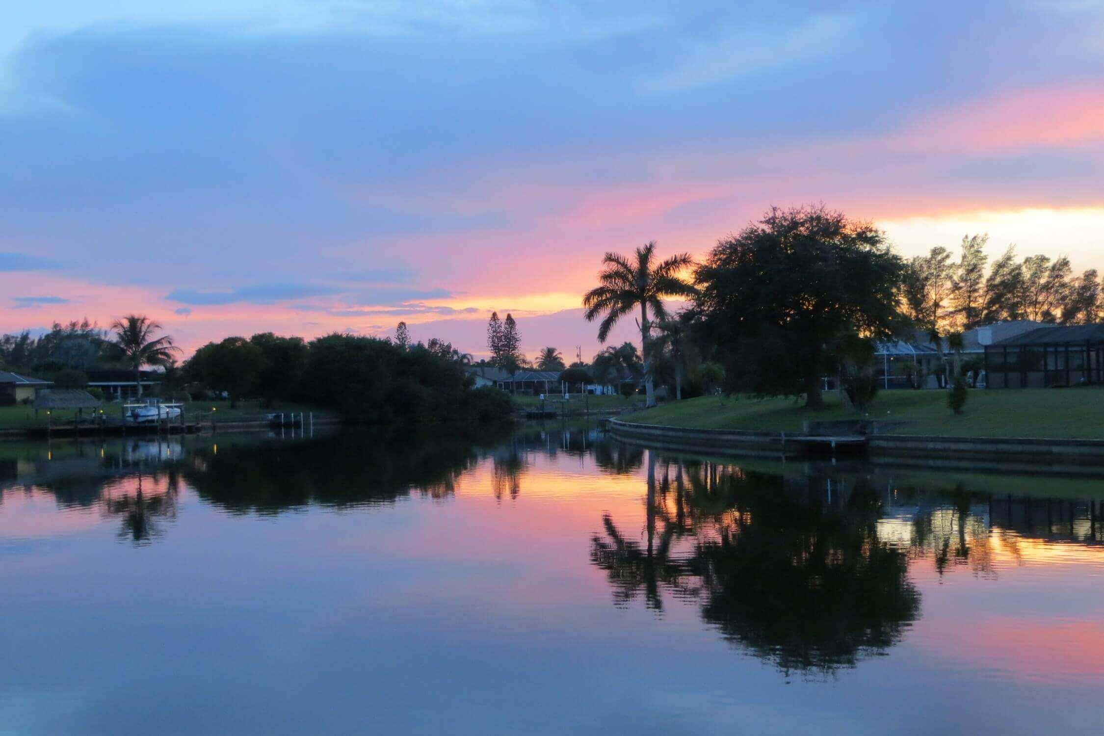 Diesen Ausblick geniessen Sie am Bootssteg der Villa Coral Belle - Ferienhaus in Cape Coral